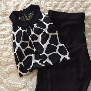 Giraffe print high neck tank top